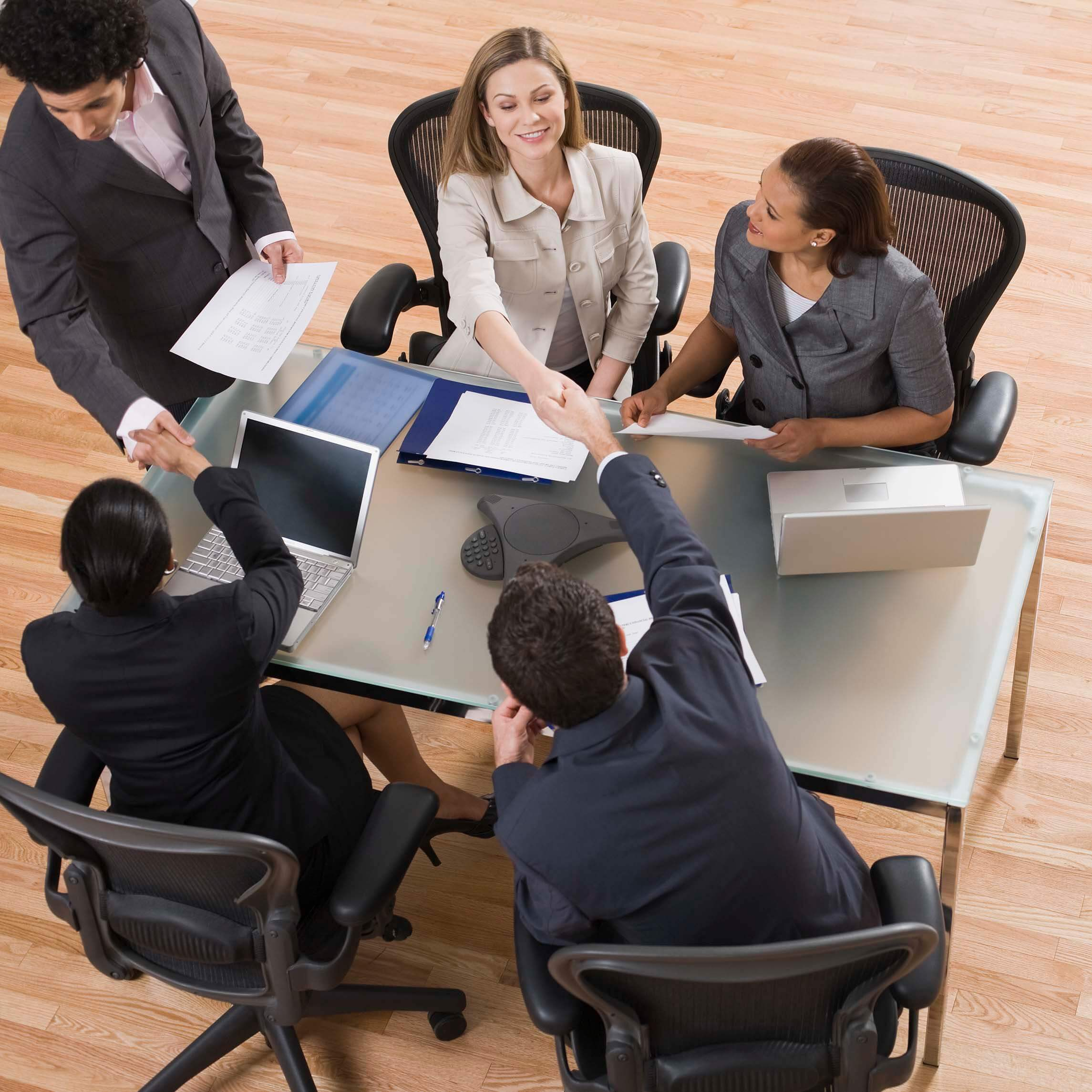 High angle view of business meeting to illustrate