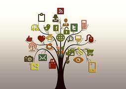 Illustration of a tree with social media icons for Workshop: how to grow your business