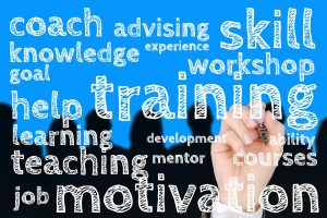 word diagram on training and coaching skills